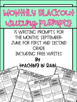 Monthly Blackout Writing- 1st and 2nd Grade