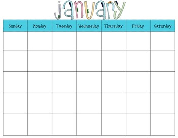 Monthly Blank Calendars