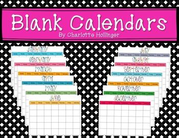 Monthly Blank Calendars