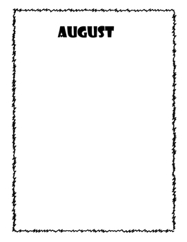 12 Month Blank Writing or Self-Portrait Templates with and