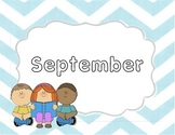 Monthly Blue Chevron Title Pages with Clip Art