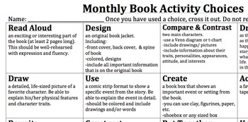 Monthly Book Activity Projects