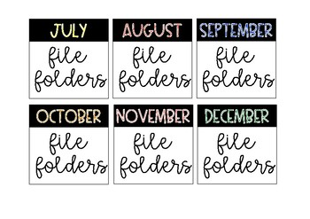 Monthly Book Bin Labels