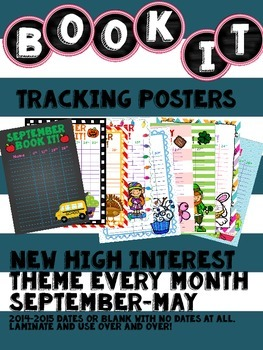 Monthly Book It Tracking Poster Sheets