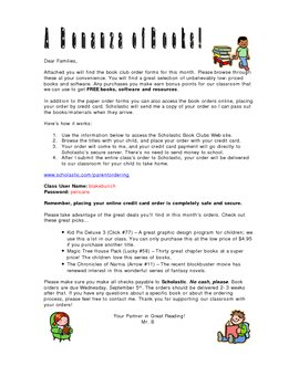 Monthly Book Order Letter