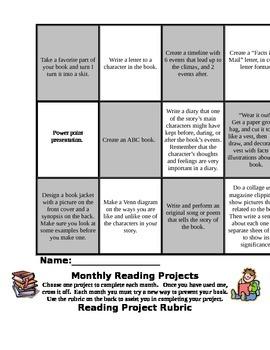 Monthly Book Project Bingo