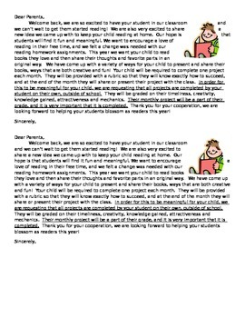 Monthly Book Project Parent Letter
