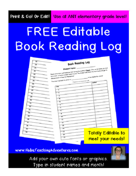 Editable Reading Log