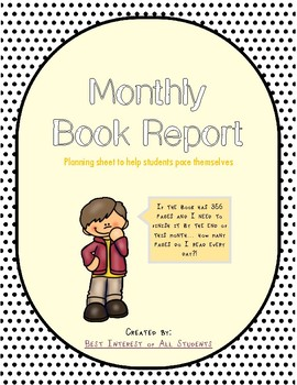 Monthly Book Report Planning Page