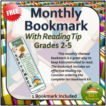 Monthly Bookmark - With Reading Tip - FREE VERSION