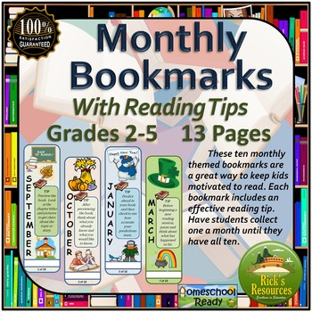 Reading Tips Monthly Bookmarks