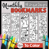 Monthly Bookmarks to Color