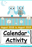 Monthly Calander Activity Worksheets 2018-2019