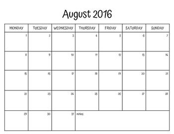 Monthly Calendar 2016-2017 (Mon.-Sun.)
