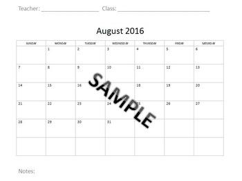 Monthly Calendar 2016-2017 School Year