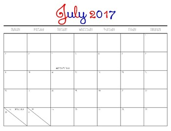 Monthly Calendar 2017-2018 School Year