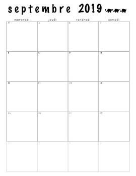 Calendrier Mensuel 2019 2020.Calendrier Mensuel Monthly Calendar 2019 2020