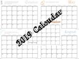 Monthly Calendar ~ 2019 Printable