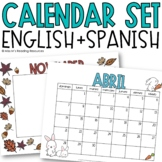 Monthly Calendar {English and Spanish}