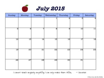 Monthly Calendar (Apple) July - Dec 2015