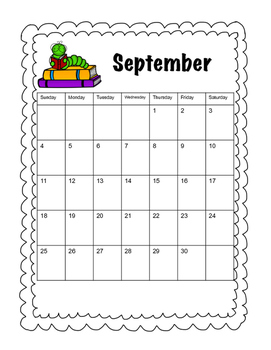 Monthly Calendar August-May 2016-2017 (Month Themes)