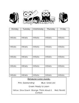 Monthly Calendar Behavior Charts
