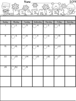 Monthly Calendar / Behavior Charts Bundle ~Editable! ~ June 2017 to July 2018