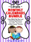 Monthly Calendar / Behavior Charts Bundle ~Editable! ~ June 2018 to July 2019