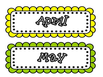 Monthly Calendar Cards