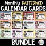 Monthly Patterned Calendar Cards for the *FULL YEAR* Bundle- Melonheadz Style