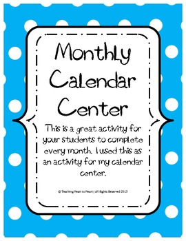 Monthly Calendar Center Activity