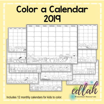 Monthly Calendar: Color Your Own