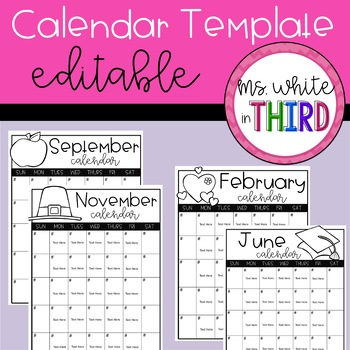 Monthly Calendar Template (Editable)