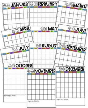Monthly Calendar - Editable!