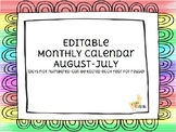 Monthly Calendar- Editable