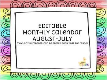Monthly Calendar- Editable