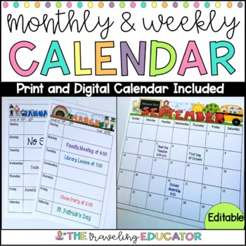 Monthly and Weekly Calendar Editable Template