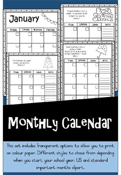 Monthly Calendar {{Editable and Transparent}}