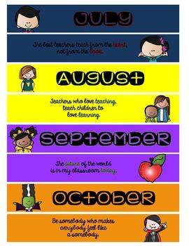 {EDITABLE} Monthly Calendar Headers