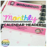 {EDITABLE} Monthly Calendar Headers