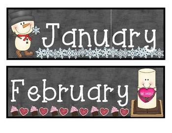 Monthly Calendar Headers - Chalkboard Theme
