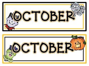 Calendar Headers for: October