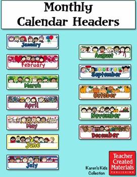 Monthly Calendar Headers by Karen's Kids (Digital Download)