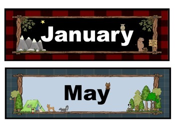 Monthly Calendar Headers in a Forest, Animal, Woodland, Camping Theme