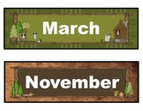 Monthly Calendar Headers in a Forest, Animal, Woodland, Ca