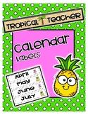 Monthly Calendar Headings
