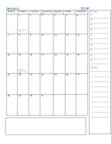 Monthly Calendar January 2018-July 2019