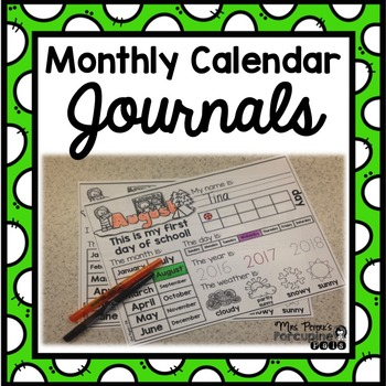 Monthly Calendar Journal for Pre-K and Kindergarten