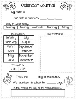 Monthly Calendar Journals