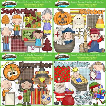 Monthly Calendar Mega Bundle with Line Art